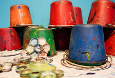 Art palettes and Paint buckets Royalty Free Stock Image