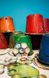 Art palettes and Paint buckets Royalty Free Stock Images