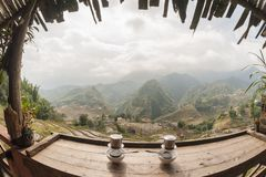 Art-Panoramaansicht des Doppelkaffees vietnamesische Lizenzfreie Stockfotografie
