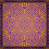 Art Pattern islamique géométrique en ornement violet et d'or hexagonal illustration de vecteur