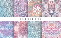 Art pattern set lotus flower mandala. Ethnic abstract print. Colorful repeating background texture. Culture bohemian ornament. Vector illustration stock illustration