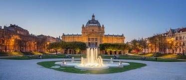 Art Pavilion au cr?puscule en Zagreb Croatia photographie stock