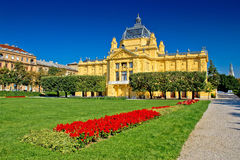 Art pavilion in colorful park, Zagreb Stock Image