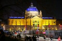 Art Pavilion på Advent i Zagreb Royaltyfria Bilder