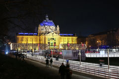 Art Pavilion på Adventtid i Zagreb Royaltyfria Foton