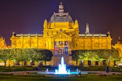 Art pavilion in Zagreb by night. Night shot of Art Pavilion and park in front of it in King Tomislav square Stock Photos