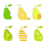 Art pears. Six colorful pears on a white background Stock Photo