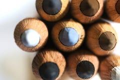Art pencils macro. Close-up of art pencils stacked together Stock Photos
