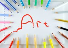 Art, pencils and notebook Royalty Free Stock Photos