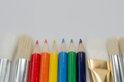 Art Pencils und Bürsten Stockfoto