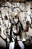 Totem Vision Woman Shaman. Art photo of an anonymous woman behind an assemblage of mirror shards and a mountain rams skull stock photo