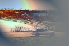 Art photo of the car. Transport metal on wheels. stock image