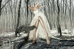 Art Photography Girl and the Wolf