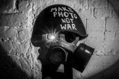 Art picture of a military gas mask stock image