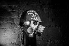 Art picture of a military gas mask stock photo