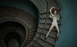 Art picture of woman falling on the stairs royalty free stock photos