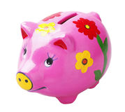 Art pig piggy bank. Pig piggy bank isolated on white background Royalty Free Stock Image