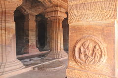 Art on the pillars of Badami Cave temples, India Royalty Free Stock Image