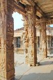Art on the Pillars inside a hindu temple at Hampi, India Stock Photos