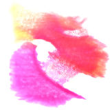 Art Pink, amarillo, gota roja de la pintura de la tinta de la acuarela Imagenes de archivo