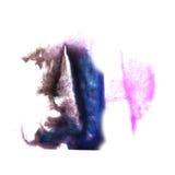 Art Pink, dark blue, black watercolor ink paint stock illustration