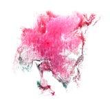 Art Pink, gota verde de la pintura de la tinta de la acuarela Fotografía de archivo