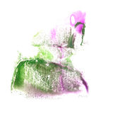 Art Pink, green  watercolor ink paint blob Stock Images