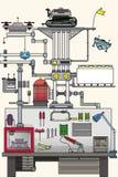 Art plat de vecteur robotique de plan illustration de vecteur