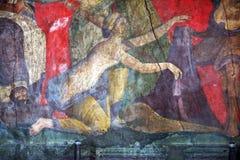 Art of pompeii. A ancient roman fresco in the villa dei misteri at pompeii in italy Stock Photography