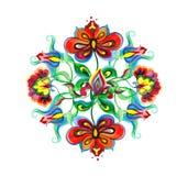 Art populaire décoratif de l'Europe de l'Est - composition florale avec les fleurs fleuries indigènes Motif de broderie d'aquarel Illustration Stock
