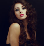Art portrait of beautiful woman with long curly hair Royalty Free Stock Images
