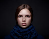 Art portrait of beautiful young girl with freckles Stock Photography