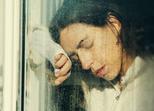 Art portrait of a beautiful young sadly girl Stock Photos