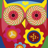 Art portrait of a comic owl general Stock Photography