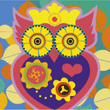 Art portrait of a comic owl queen Royalty Free Stock Photos