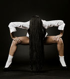 Art portrait of woman with long black dreadlocks Stock Photos