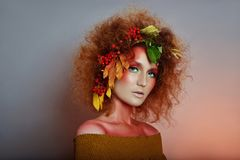 Art portrait of women autumn in her hair, vivid fall colors and makeup, red curly hair and voluminous hair. Leaves and berries. Art portrait of woman autumn in stock photography