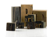 Art print. Wooden typescript letters forming the word art Stock Image