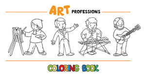 Art professions coloring book. Stock Photo