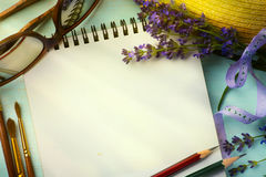 Art Provence; sketchbook and a bouquet of lavender Royalty Free Stock Photos