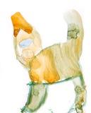 Art puéril de dessin de chat drôle d'isolement sur le blanc illustration stock