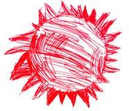Art puéril rouge de dessin d'étoile de Sun d'isolement sur le blanc illustration libre de droits