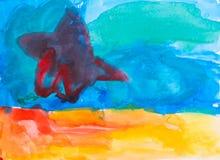 Art puéril tropical de dessin de plage d'été illustration stock