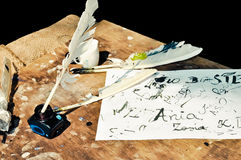 Art of quill writing Stock Photos