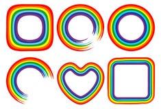 Art rainbow colorful brush strokes  frame set. Illustration Royalty Free Stock Photos