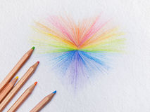Art Rainbow hearts on white paper Royalty Free Stock Image