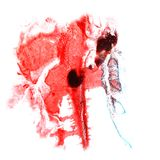 Art Red, black watercolor ink paint blob watercolour splash colo. Rful stain isolated on white background stock photo