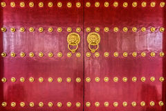 The art of red Chinese temple wooden door Stock Photo