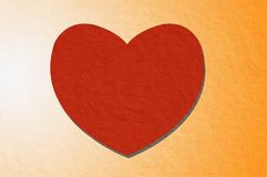 Art red heart on orange color background. Art red heart on orange color illustration background Stock Photography