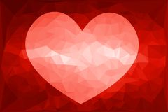 Art red heart polygon background. Art red heart polygon illustration background Stock Photo